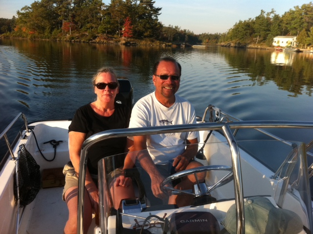 Danny and Diane in the Whaler